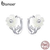 BAMOER Women Earrings S925 Sterling silver Pavé Setting CZ Pure flower Jewelry