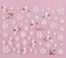 Noël Nail Art Stickers Décalques Doré Blanc Flocon De Neige Étoiles Strass 257