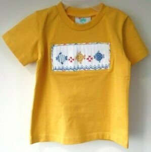 Brand New Shrimp & Grits Yellow Smocked Fish Shirt Boy's Size 18 Month