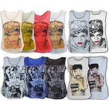 Ladies Vest Womens Top Rihanna T Shirt Celebrity Print Unapologetic Album Cover