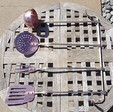 Set of 4 Copper Kitchen Utensils w/Brass Wall Rack, Douro
