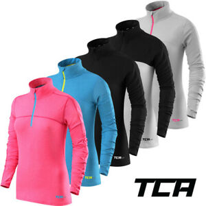 Womens TCA Fusion Quick Dry Long Sleeve Half Zip Running Top Gym Workout Jogging