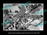 OLD LARGE HISTORIC PHOTO OF NUNNEY SOMERSET ENGLAND THE TOWN & CASTLE c1930