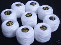 10 White ANCHOR Pearl Cotton Balls.Size 8,85 Mtrs each
