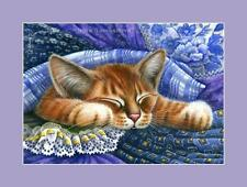 Ginger Cat Print Under Blue Fabric from an original by I Garmashova