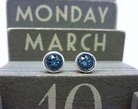 Silver Birthstone Earrings - March Aquamarine Blue Made with Swarovski Crystals