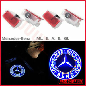 4PCS Blue Logo LED Door Lights Ghost Shadow Laser Projector For Mercedes-Benz