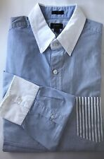 J.Crew Men Dress Shirt Stripe Blue Patches Slim Fit Medium Long Sleeve Cotton