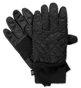 $129 Isotoner Men'S Black Touch Screen Thermal Winter Quilted Ski Gloves S/M