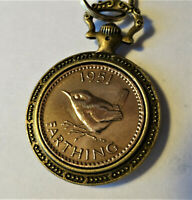 1951 70th birthday Farthing old Brass pocket watch keyring Or Pick Your Own Date