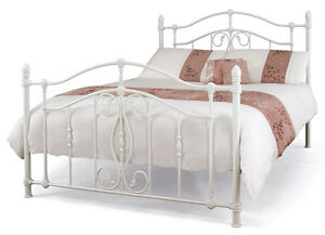 Victorian Look White Gloss Metal Bedstead Timeless Bed Frame