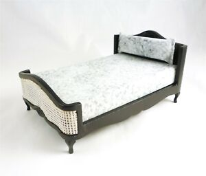 Dollhouse Miniature Black Double Bed with Rattan Trim, T2688
