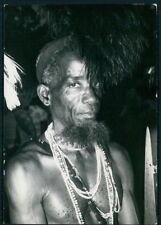 Ethnic Mozambique Inhambane Muchope native warrior hat old c1950s photo postcard
