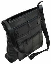 Women's Black Leather Midsize Shoulder Bag Purse Fashion Stylish Ladies Handbag