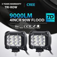 "2x Tri Row 4""inch 90W CREE LED Work Light Bar FLOOD Offroad ATV SUV 4WD PK 18W"