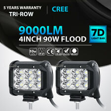 "2x Tri Row 4""inch 90W CREE LED Work Light Bar FLOOD Offroad ATV SUV 4WD PK 18W"