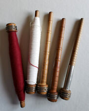Antique Sewing Wooden Spools Spindles Bobbins Wood Lot Of 5 Thread Textile