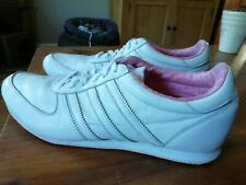 Women's Adidas Trainers size 7.5 white leather 'runner sleek' pink trim vintage