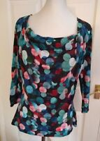 Phase Eight Blue mix coloured circle stretch top size 18