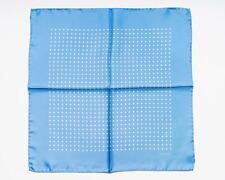 Tom Ford Nuovo Satinato Blu Bianco Motivo a Pois 100% Seta Fazzoletto da