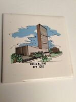 Vintage Trivet Ceramic Accent Wall Tile New York United Nations 6x6 AA