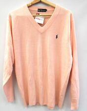 Mens Vintage POLO RALPH LAUREN Pink Cashmere V Neck Jumper Large Preloved  - S91