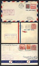 NEW ZEALAND 1940's THREE FIRST FLIGHT COVERS AUCKLAND TO US