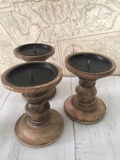 Candle Sticks Set of 2 13cm Shabby Chic Retro Wooden Candlestick Holders Pillar Mahogany