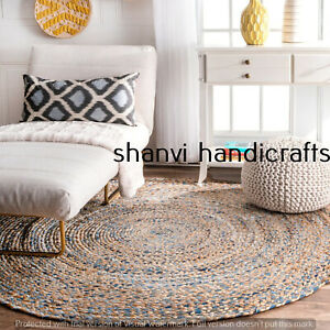 Braided Rag Rug Bohemian Jute Denim Natural Jute Round 4 Feet Floor Rug Area Rug