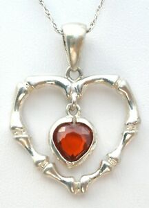 """Vintage Heart Bamboo Pendant Necklace Red Cubic Zirconia Sterling Silver 20"""""""