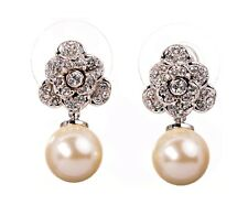 Swarovski Elements Crystal Pearl Flower Pierced Earrings Rhodium Authentic 7301w