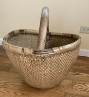 Vintage Hand Woven Wicker Rattan with Wood Handle Large Basket