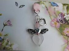 Guardian Angel. Rose Quartz Angel. Memorial charm. Lucky charm. Bracelet. Bag.UK