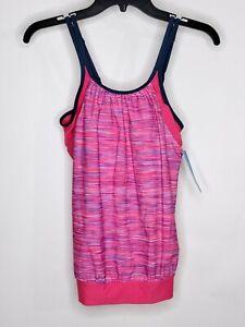 Free People Swim Tankini  Pink Multicolor Elastic Gathered Bottom Built In Bra