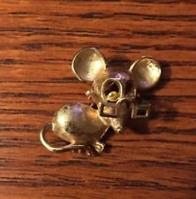 Vintage Avon Mouse with Moveable Glasses Rinestone Eyes Pin/ Brooch Lapel