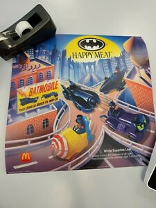 1992 McDonalds Batman Happy Meal Store Display 2 Sided Poster