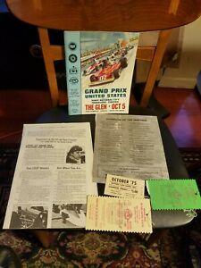 Oct 1975 Grand Prix United States Watkins Glen NY Official Program w/ Stubs