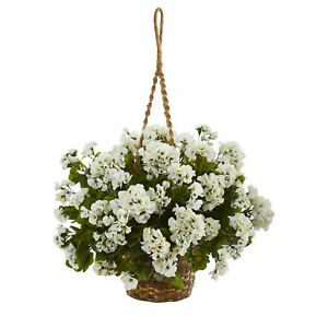 """Nearly Natural 19"""" Geranium Hanging Basket Artificial Plant UV Resistant White"""