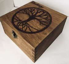 Personalised Wooden Jewellery Memory Box 12cm Tree Of Life Keepsake Father Gift