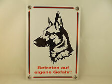 """Emailleschild Schäferhund Warnschild Hund """"Betreten auf eigene Gefahr"""""""