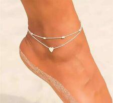 heart Anklet Foot Chain Boho Beads Uk Women Ankle Bracelet Sterling Silver/Gold