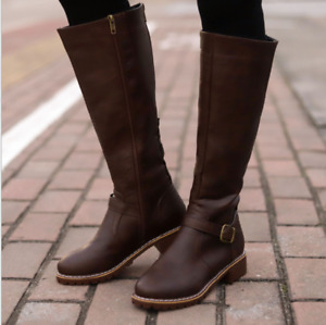 Womens Low Heel Knee High Punk Boots Round Toe Buckle Zip Military Riding Combat