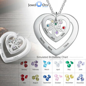 Women Mom Tree of Life Necklace 6 Names Pendant Heart Christmas Gift Personalize
