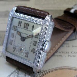 Mens Original 1928 Bulova 14K SOLID GOLD Engraved Hinged SURREY Art Deco Watch