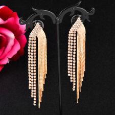 Shining Long Tassel Clear Crystal Bridal Hanging Earrings Women Wedding Jewelry