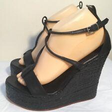 Size AU 11 / EUR 42 Women's Open Toe Black Leather Espadrille Wedge Sandals-JAM