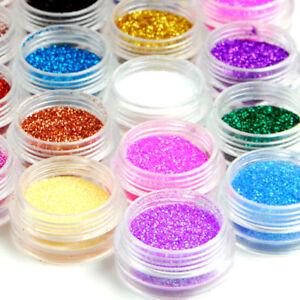 12 Mixed Color Nail Art Acrylic Glitter Powder Dust Tips Decoration DIY Tool