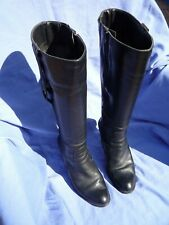 LADIES WOMENS DOROTHY PERKINS BLACK LEATHER KNEE HIGH BOOTS UK SIZE 4.5 EURO 37