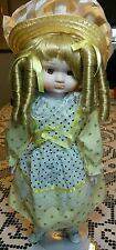 Heritage Mint Blonde Curly Hair Porcelain Doll Girl Yellow Clothing & Hat 16""