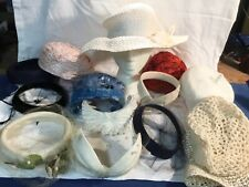 Vintage Lot of 14 Ladies Hats Mid Century Casual /Formal~& Floral Hat Box